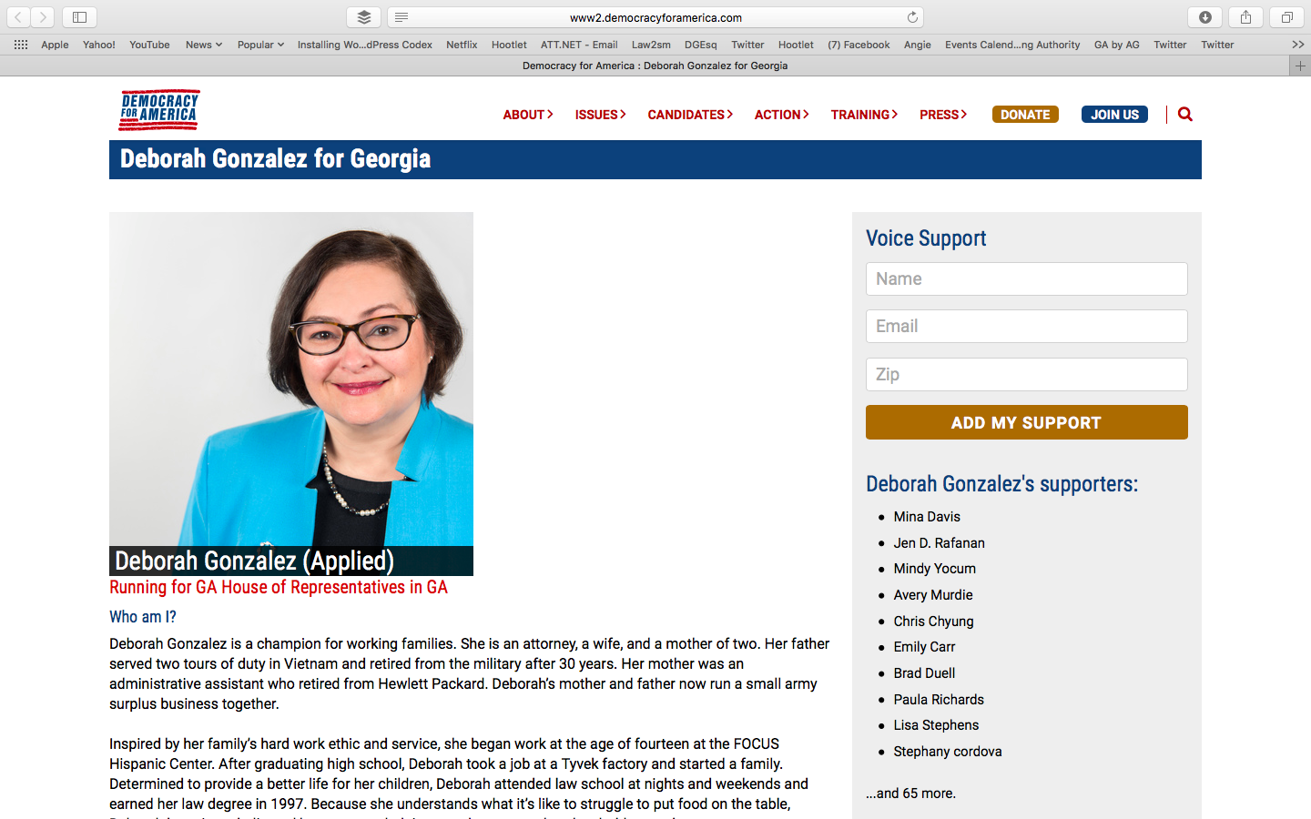 Screen Capture of Democracy for America Gonzalez Page